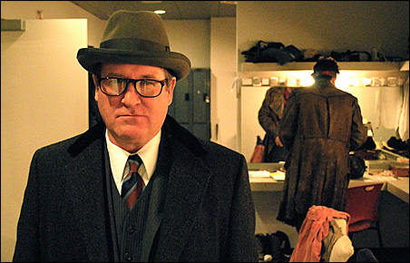 """Bob Davis in the dressing room just prior to taking the stage as Rosse in the Guthrie's production of """"Macbeth."""""""