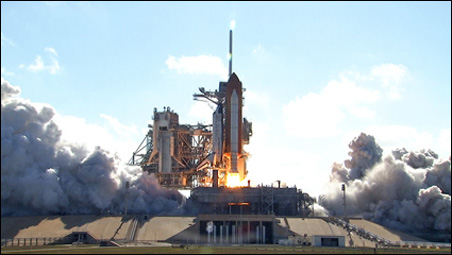 Dozens of friends and family from the Minnesota towns where Karen Nyberg grew up gathered in Florida Saturday for the launch of the space shuttle Discovery.