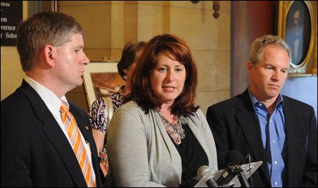 Although Sen. Although Sen. Geoff Michel, right, will be interim leader, he may not  be the caucus choice to replace departing Sen. Amy Koch, center. House Speaker Kurt Zellers, left, praised Koch's work.Geoff Michel, right, will serve as interim leader t