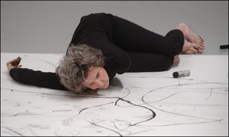 """Trisha Brown in her """"It's a Draw/Live Feed."""""""