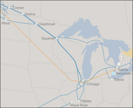 Enbridge pipelines run across a large portion of the Midwest.