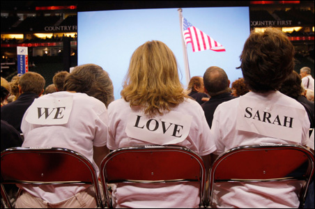 Backers of Republican vice presidential candidate Sarah Palin display their support.