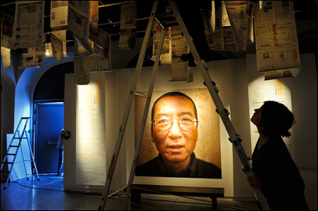 Workers prepare the Nobel Peace Prize laureate exhibition 'I Have No Enemies' for Chinese dissident Liu Xiaobo at the Nobel Peace Center in Oslo.