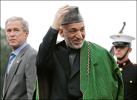 President Bush and Afghanistan President Hamid Karzai at Camp David last August. The two will meet again this week.