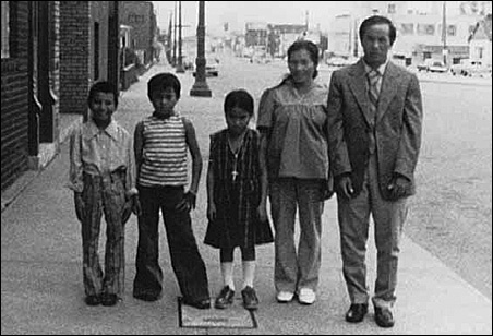 The Yong Vang Yang family on their first day in St. Paul, June 20, 1979.