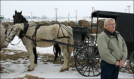 Guide Richard Scrabeck stands near an Amish buggy at a hay auction.