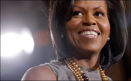 Michelle Obama appears at a Tuesday roundtable discussion in Denver.