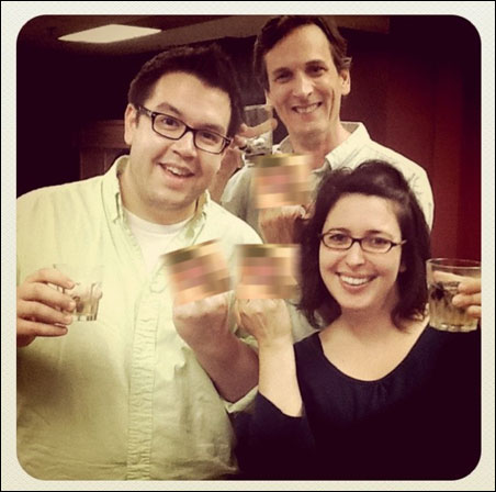 """Cocktail creator John Middleton, in back, with """"Minnesota Middle Finger"""" castmates Tim Hellendrung and Leigha Horton."""
