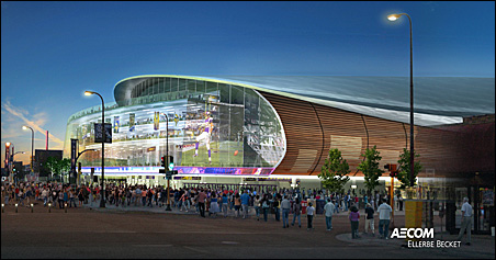 A sketch of the proposed stadium that Minneapolis unveiled on Monday.