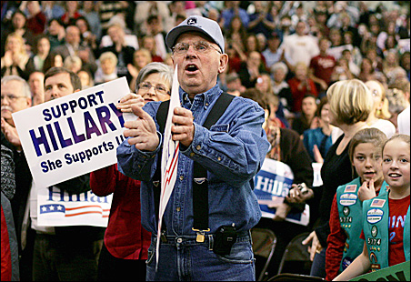 Clinton supporters cheer during a rally in St. Clairsville, Ohio.