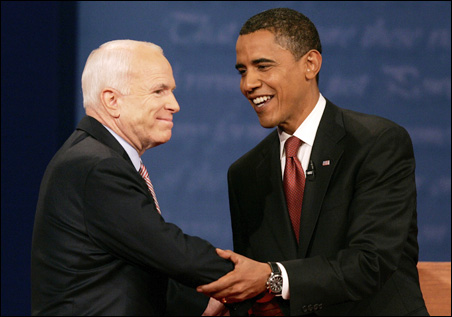 John McCain and Barack Obama skirmished over the economy and foreign affairs last night, a debate that lacked the drama building up to the event but still left analysts with plenty to analyze.