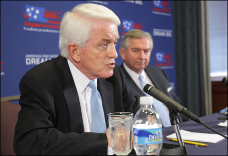 U.S. Chamber of Commerce officials, under siege for their climate change policy, this week launched a campaign touting free enterprise. Annoucing the campaign is Chamber President and CEO Tom Donohue, left, and Vice Chairman Tom Bell.
