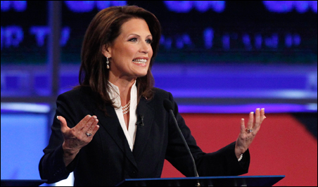 Rep. Michelle Bachmann speaking during the first New Hampshire debate of the 2012 campaign.