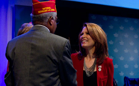Unlike the warm, polite receptions by the crowd for president Obama and Nancy Pelosi, Bachmann was cheered loudly by the delegates.