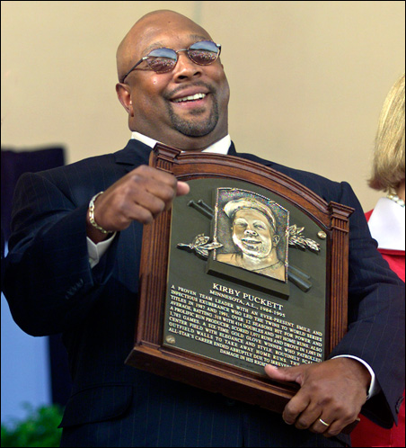 Today is the second anniversary of the death of Twins hero Kirby Puckett, shown here at his 2001 Hall of Fame induction ceremonies.
