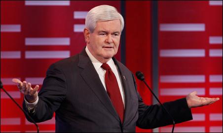 Newt Gingrich gesturing during Saturday's GOP debate at Drake University.