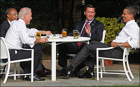 President Barack Obama, right, sits down for a beer with Harvard professor Henry Louis Gates Jr., left, police sergeant James Crowley, second from right, and Vice President Joe Biden.