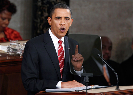 President Obama speaks to a joint session of Congress as he delivers his first State of the Union address on Wednesday.