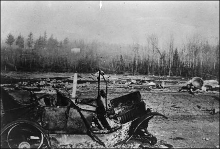 Scene outside Moose Lake after the fire.