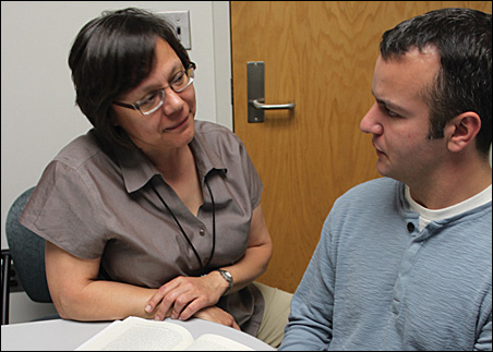Micah Treuer, right, chats with Joycelyn Dorscher, M.D., Director of the Center of American Indian and Minority Health at the University of Minnesota Medical School-Duluth Campus.