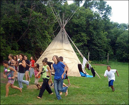 End of summer fun: Dakota language camp at Birch Coulee County Park.