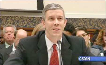 Sec. Arne Duncan testifying before the House Education and Labor Committee about the reauthorization of the Education Act on Wednesday.