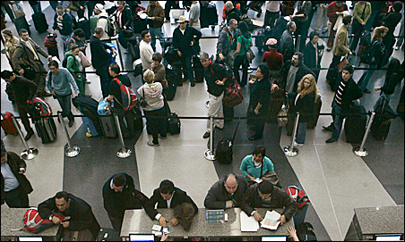 Lines and more lines at O'Hare in Chicago after American Airlines canceled 45 percent of its flights last week.
