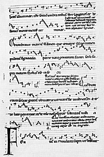 Here's a sheet from the original manuscript from the 12th century.