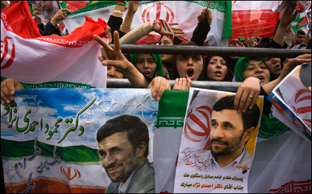 Supporters of Iranian President Mahmoud Ahmadinejad during a victory celebration in central Tehran over the weekend.