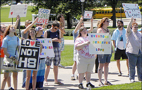 Same-sex marriage supporters also gathered at the state Capitol the same day to counter the National Organization for Marriage rally.