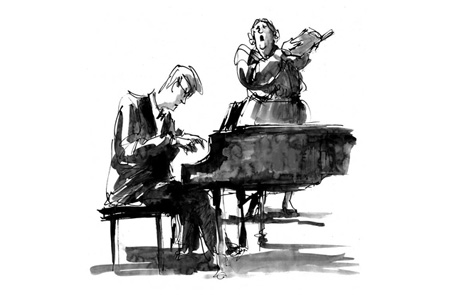 """Mike Reed, a sketch of actors in """"Souvenir"""" at the Jungle Theater, 2009."""