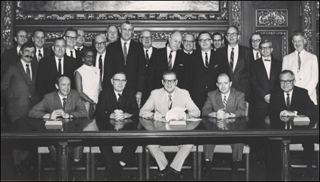 The appointment of the first Met Council by Gov. Harold LeVander, seated center, in 1967.