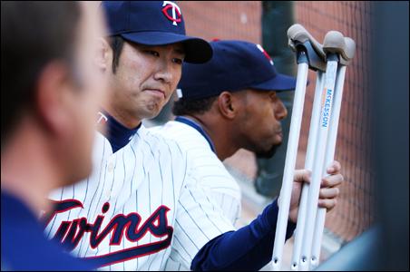 It was a disappointing home opener for injured Twin Tsuyoshi Nishioka.