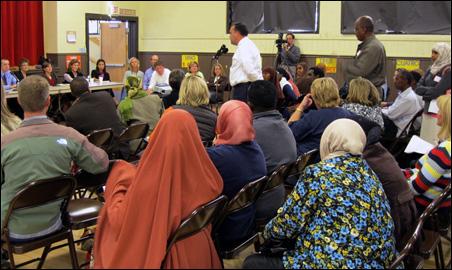 The Eden Prairie School Board listens to input from community members.