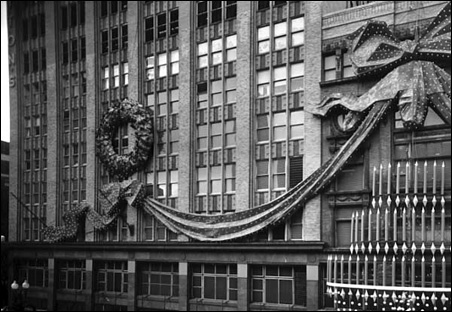 Christmas decorations on the exterior of Dayton's in downtown Minneapolis in 1956.