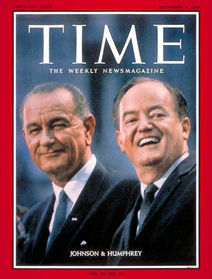 Lyndon Johnson and Hubert Humphrey on the cover of Time magazine