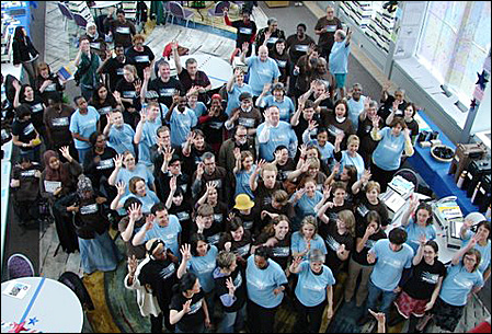 Nonprofit workers who attended a Voter Mobilization event gathered for a group shot.