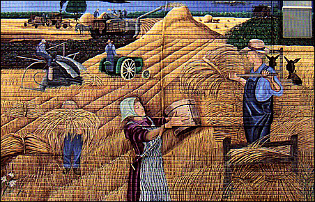 """Scenes from the Sebeka Centennial Mural (2001), created by Sebeka High School students, are included in """"Shaping Minnesota's Identity: 150 Years of State History."""""""