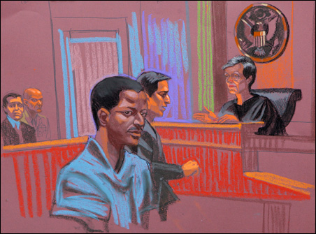 Ahmed Ghailani is depicted in this courtroom sketch of his arraignment, in New York, June 9, 2009.
