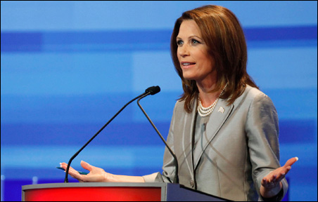Michele Bachmann speaking during the presidential candidate debate in Ames.