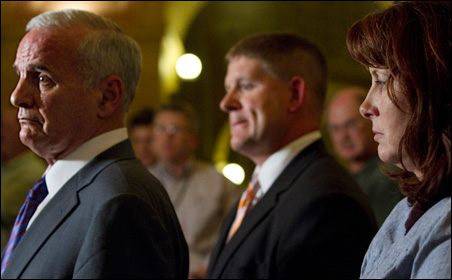 Neither Gov. Mark Dayton, nor House Speaker Kurt Zellers nor Senate Majority Leader Amy Koch looked triumphant as they came out of Dayton's office and declared they had reached agreement.