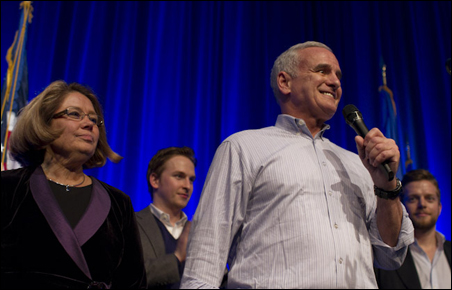 Gov. Mark Dayton, flanked by Lt. Gov. Yvonne Prettner Solon and sons Andrew and Eric, spoke to attendees at the end of the night.