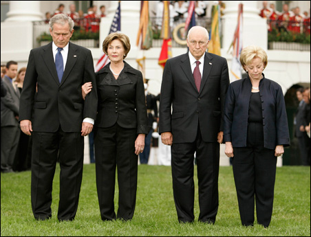 President Bush, Laura Bush, Vice President Cheney and Lynne Cheney lead a moment of silence on the seventh anniversary of the Sept. 11 attacks.