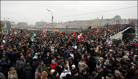 Demonstrators attending a rally on Saturday in Bolotnaya Square in Moscow to protest against violations at the parliamentary elections.