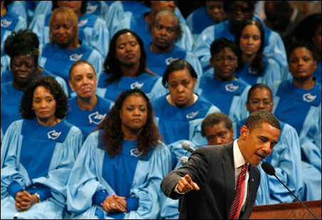 Sen. Barack Obama speaks during services at the Apostolic Church of God in Chicago.