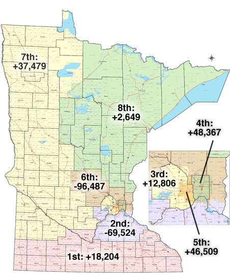 New Census numbers will change Minnesota's political ... on louisiana district map, ca district map, mn judicial districts, district court map, mn senate districts, portland district map, dc district map, london theatre district map, hk district map, minnesota driving conditions map, arena district map, mn house districts, mn courts district, federal district map, orlando district map, pearl district map, minnesota state map, la district map,
