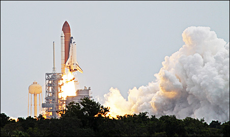 The space shuttle Atlantis taking off Friday morning.