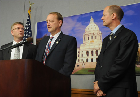 From left, Sens. Ted Daley, Ted Lillie and Paul Gazelka outline their plan to make sure Minnesota's government never shuts down again.