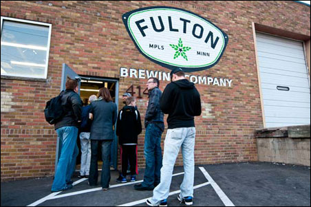 Lining up for growlers at Fulton Brewery.