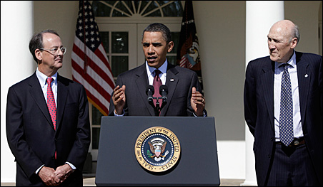 President Barack Obama, speaking in the Rose Garden earlier this year, is flanked by panel co-chairs Erskine Bowles and Alan Simpson.